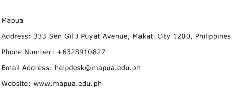 Mapua Address Contact Number