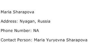 Maria Sharapova Address Contact Number