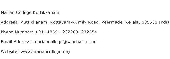 Marian College Kuttikkanam Address Contact Number