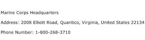 Marine Corps Headquarters Address Contact Number