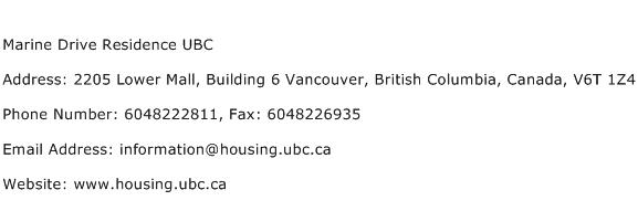 Marine Drive Residence UBC Address Contact Number