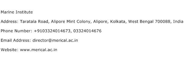 Marine Institute Address Contact Number