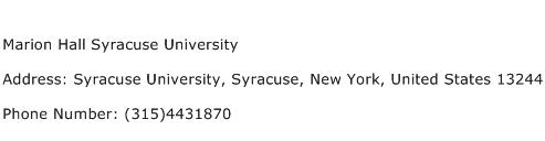 Marion Hall Syracuse University Address Contact Number