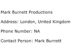 Mark Burnett Productions Address Contact Number