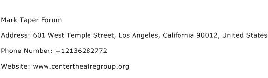 Mark Taper Forum Address Contact Number