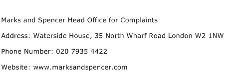 Marks and Spencer Head Office for Complaints Address Contact Number
