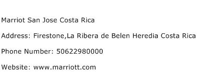 Marriot San Jose Costa Rica Address Contact Number
