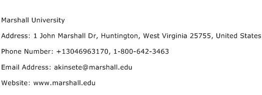 Marshall University Address Contact Number