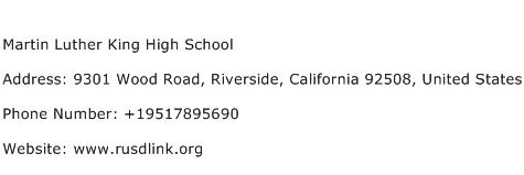 Martin Luther King High School Address Contact Number