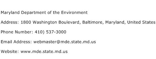 Maryland Department of the Environment Address Contact Number
