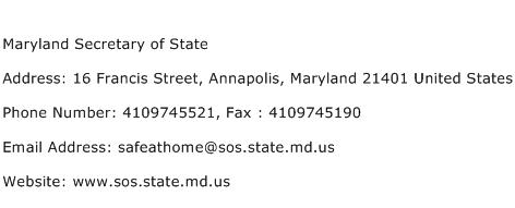 Maryland Secretary of State Address Contact Number