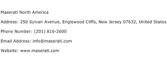 Maserati North America Address Contact Number