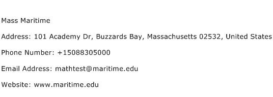 Mass Maritime Address Contact Number