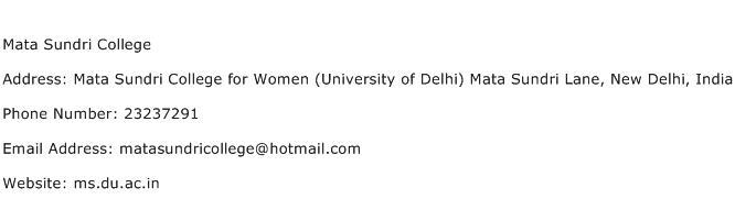 Mata Sundri College Address Contact Number