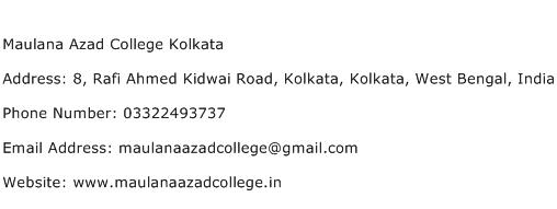 Maulana Azad College Kolkata Address Contact Number