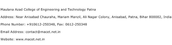 Maulana Azad College of Engineering and Technology Patna Address Contact Number