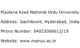 Maulana Azad National Urdu University Address Contact Number