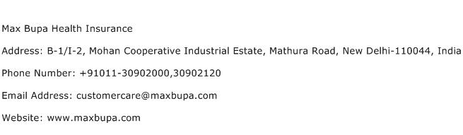 Max Bupa Health Insurance Address Contact Number