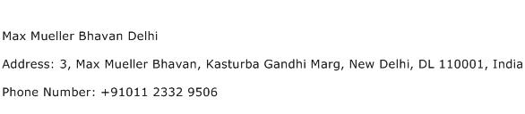 Max Mueller Bhavan Delhi Address Contact Number