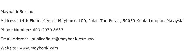 Maybank Berhad Address Contact Number