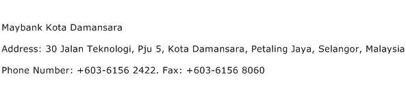 Maybank Kota Damansara Address Contact Number