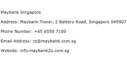 Maybank Singapore Address Contact Number