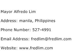 Mayor Alfredo Lim Address Contact Number