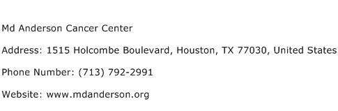 Md Anderson Cancer Center Address Contact Number