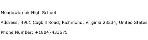 Meadowbrook High School Address Contact Number