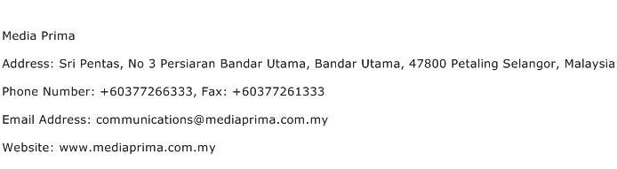Media Prima Address Contact Number