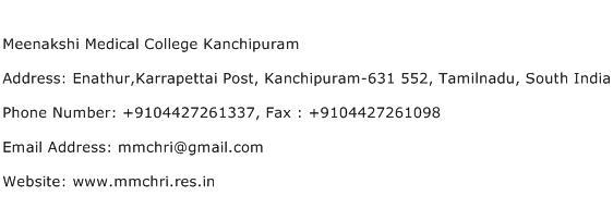 Meenakshi Medical College Kanchipuram Address Contact Number