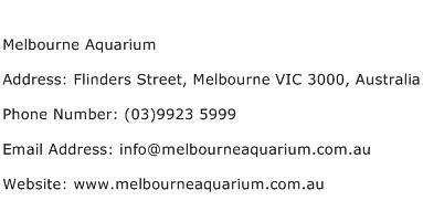 Melbourne Aquarium Address Contact Number