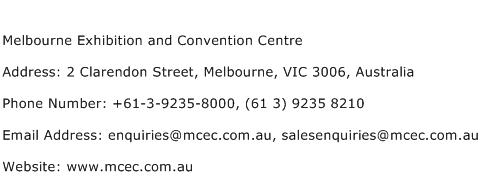 Melbourne Exhibition and Convention Centre Address Contact Number