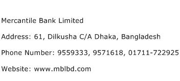 Mercantile Bank Limited Address Contact Number