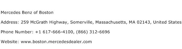 Mercedes Benz of Boston Address Contact Number