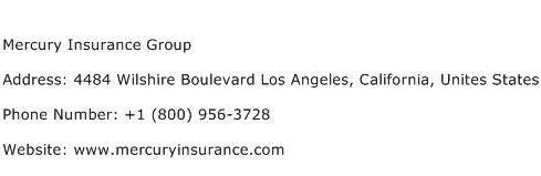 Mercury Insurance Group Address Contact Number