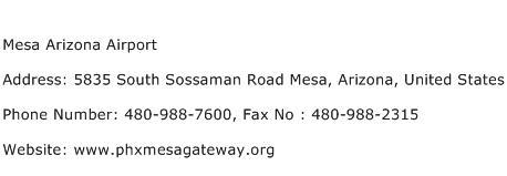 Mesa Arizona Airport Address Contact Number
