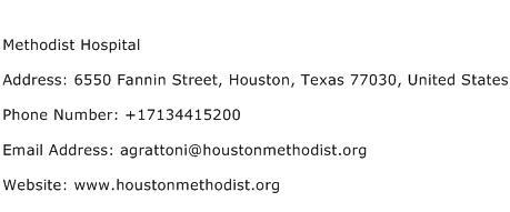 Methodist Hospital Address Contact Number