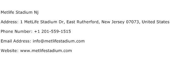 Metlife Stadium Nj Address Contact Number