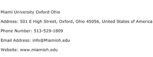 Miami University Oxford Ohio Address Contact Number