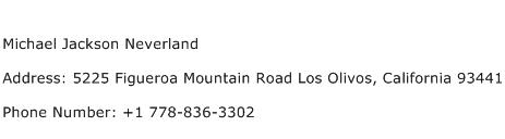 Michael Jackson Neverland Address Contact Number