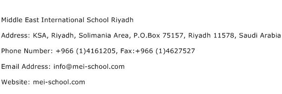 Middle East International School Riyadh Address Contact Number