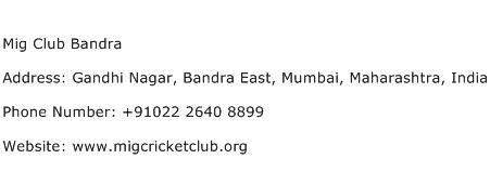 Mig Club Bandra Address Contact Number
