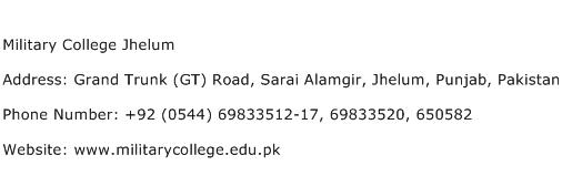 Military College Jhelum Address Contact Number