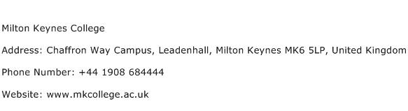 Milton Keynes College Address Contact Number