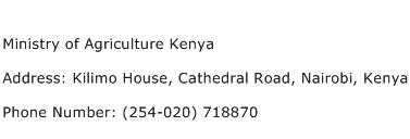 Ministry of Agriculture Kenya Address Contact Number