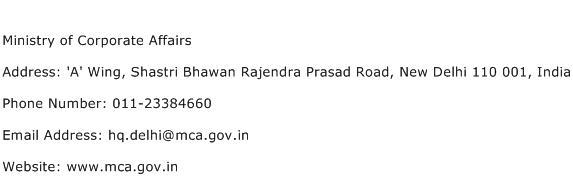 Ministry of Corporate Affairs Address Contact Number