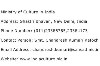 Ministry of Culture in India Address Contact Number