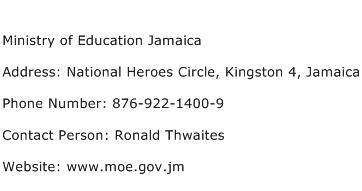 Ministry of Education Jamaica Address Contact Number