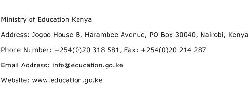 Ministry of Education Kenya Address Contact Number